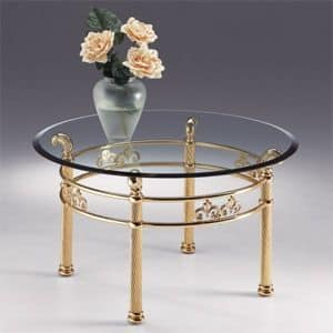 VIVALDI 1062, Round table in metal, transparent glass top with bevel