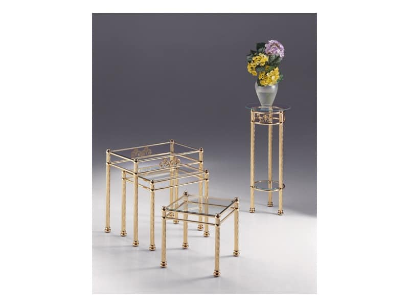 VIVALDI 1074, Coffee table in shiny metal, classic contemporary style