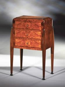 Art Déco Art.534 cabinet 3 drawers, Satin cabinet with 3 drawers, in ash burl