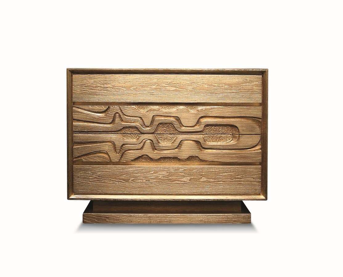 Lyra, Chest of drawers in art deco style, gold leaf finish