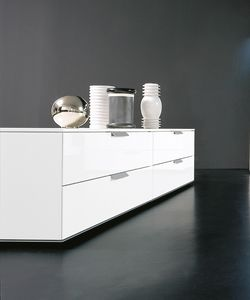 PRISMA comp.01, Low furniture with drawers, in essential style, for living room