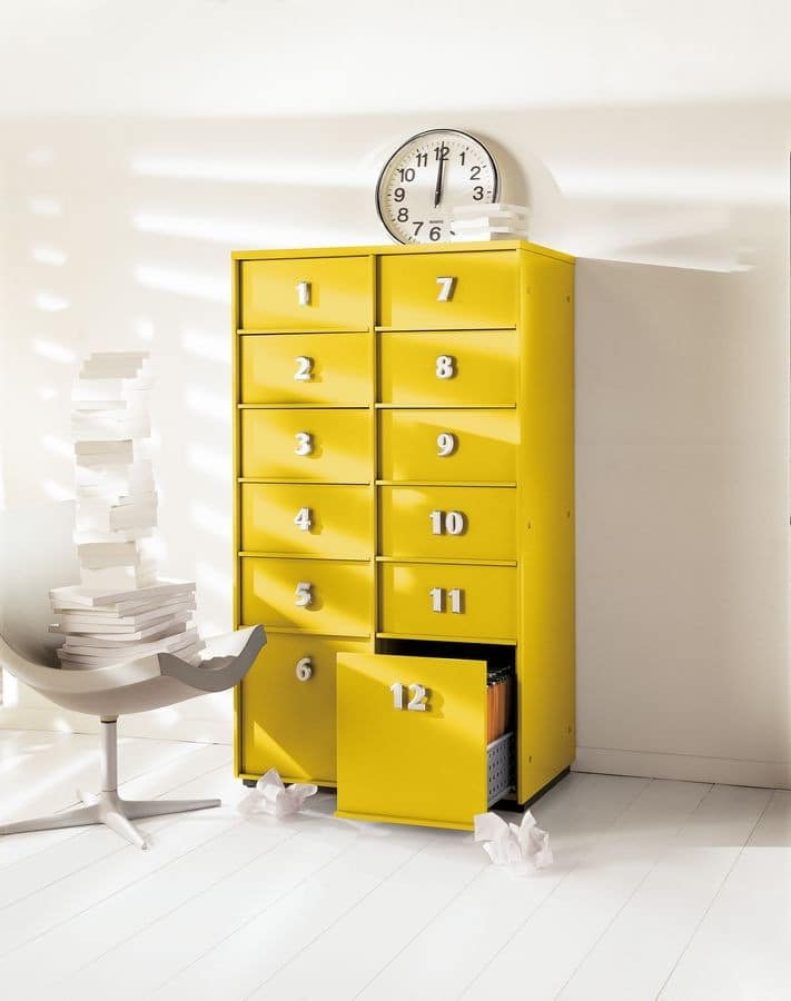 TOOLBOX comp.07, Yellow chest of drawers for the home and office
