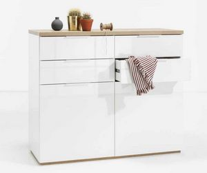 White Chest of Drawers 4 Drawers 2 Doors For Kitchen Bedroom Parlor, Chest of drawers in white color