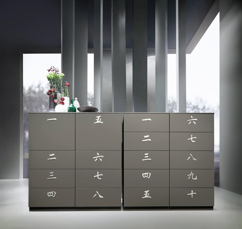 XIAN comp.01, Chest of drawers for linen, in aged fir