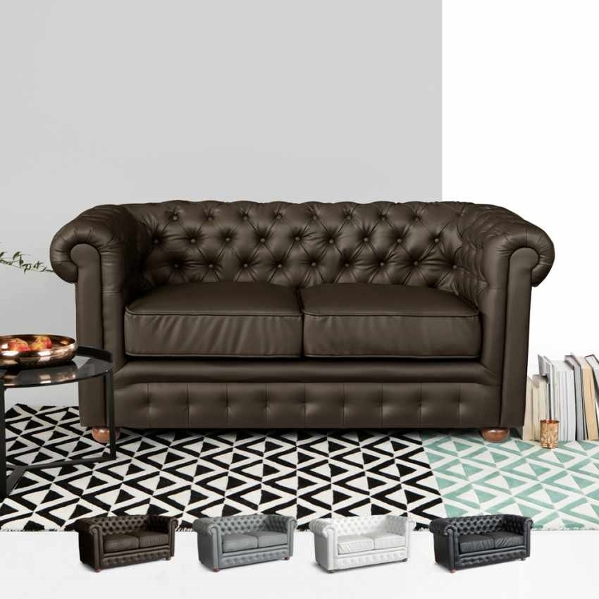 2 Seater Leather Sofa Capitonné CHESTERFIELD Design, Chesterfield leatherette sofa