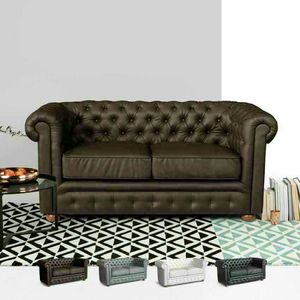 2 Seater Leather Sofa Capitonné CHESTERFIELD Design - DI764CHEPUM, Chesterfield leatherette sofa