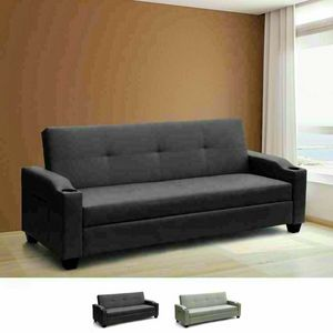 2 Seater Leatherette Sofa Bed Recliner Backrest Container And Pockets AMBRA Pronto Letto, Sofa bed with newspaper pockets