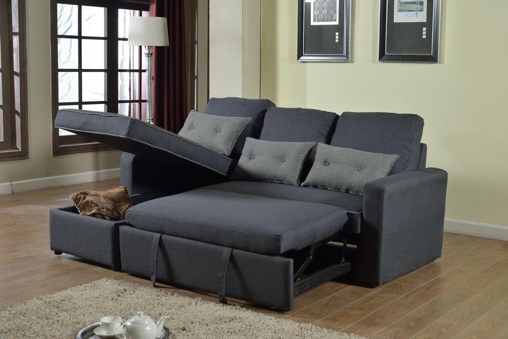 Corner Sofa Bed in Microfiber 3 Seats with Cushions SMERALDO - SADIZ712TEGS, Corner sofa bed