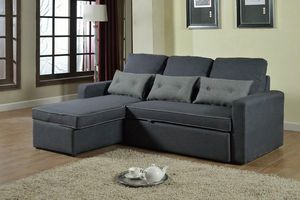 Corner Sofa Bed in Microfiber 3 Seats with Cushions SMERALDO - SADIZ712TEGS, Corner sofa bed