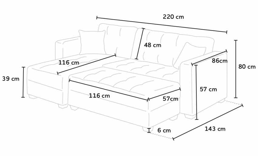 Corner Sofa Bed With 3 Seater Peninsula With Pouf MADREPERLA Container Ready Bed, Container sofa bed with peninsula