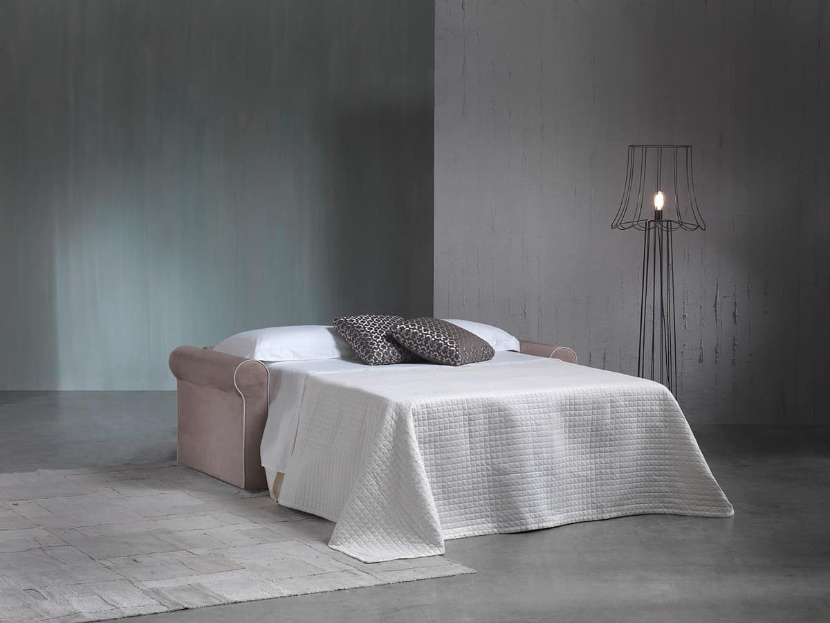 Diva, Sofa bed in wood upholstered polyurethane for hotel
