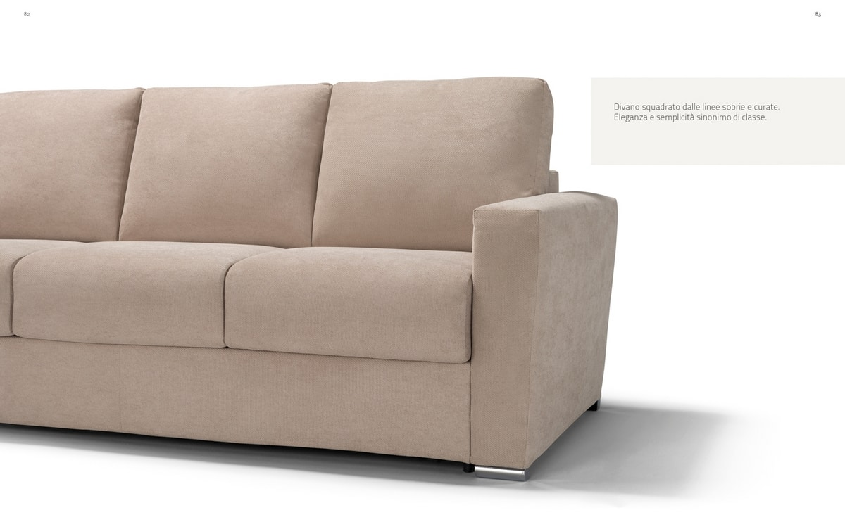 Oliver, Square sofa with sober lines