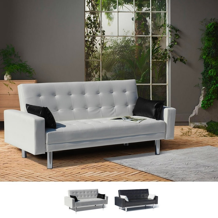 Sofa Bed 2 Seats in Faux Leather with Armrests and Cushions AGATA - DI1748PUB, Sofa bed, in imitation leather