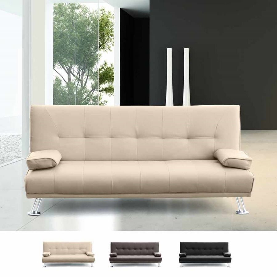 Sofa Bed 2 Seats in Faux Leather with Armrests OLIVINA - DI1788PUC, Leatherette sofa bed