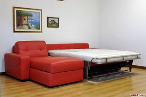 Sofa bed with storage peninsula, Double sofa bed, with container chaise longue