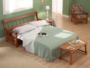 Vienna Sofa Bed, Sleeper sofa in wood in rustic style, for farm house