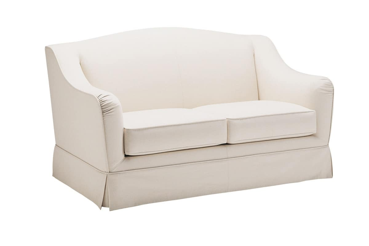 Accademia Due, Two-seater sofa, upholstered in white cotton cloth