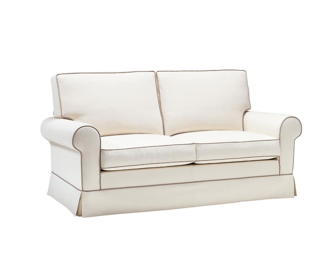 Amerigo, Classic-style sofa, in white removabile fabric