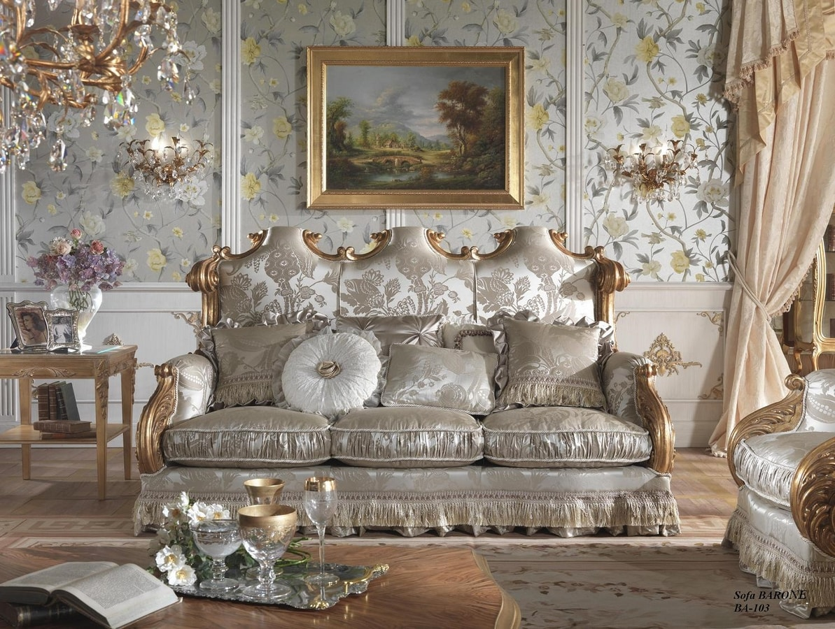 Barone sofa, Classic sofa, hand carved
