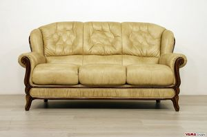 Carlo Magno sofa, Wooden sofa with carved frame