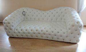 Catia sofa, Tufted sofa in white eco-leather