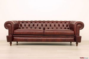 Chesterfield Milano sofa, Leather sofa with covered bolts