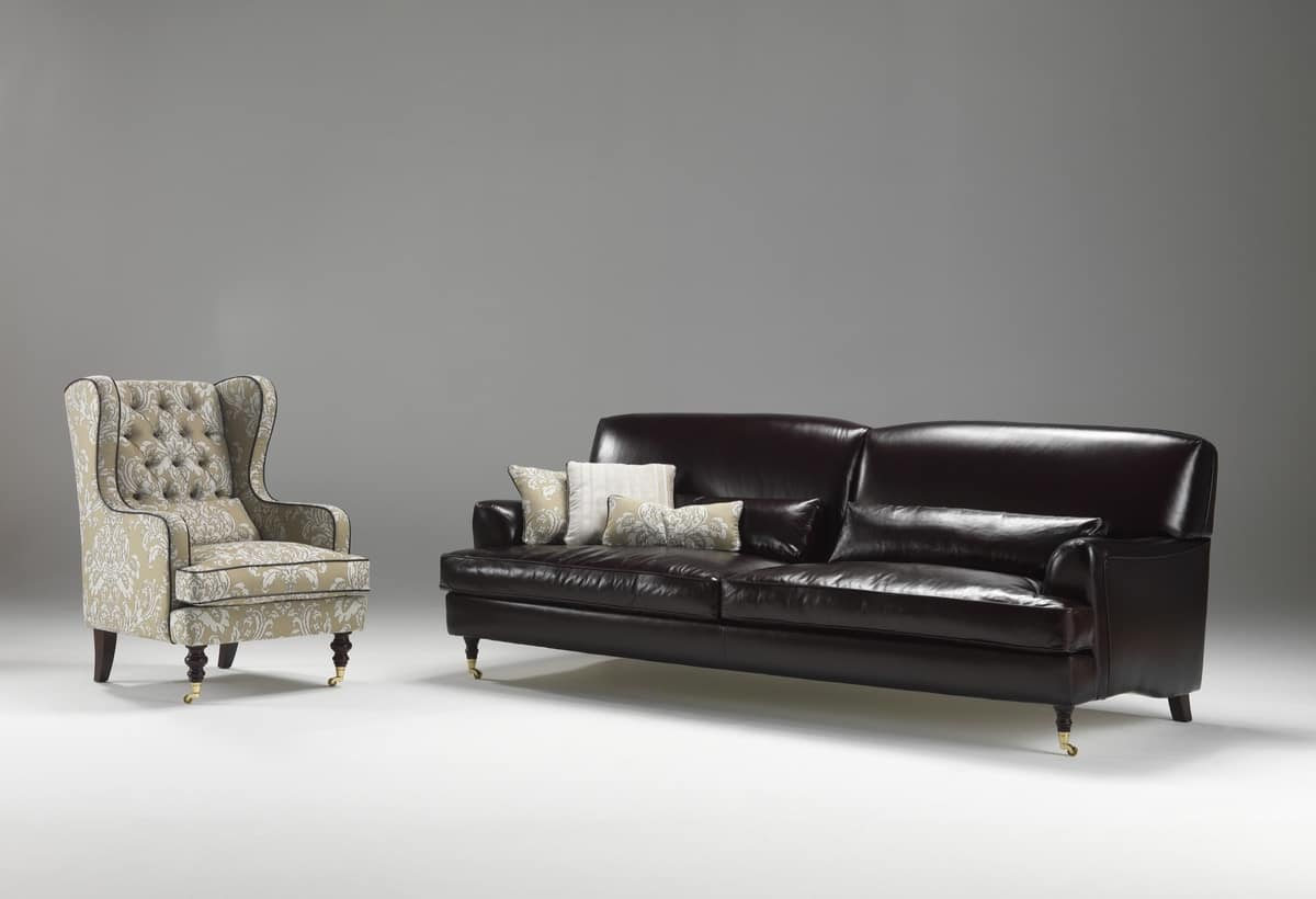 Didone, Sofa in red velvet, classic style