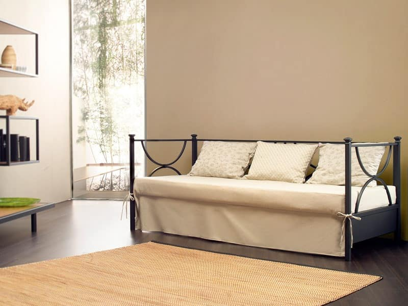 Duetto Sofa, Linear metal sofa, back with upholstered cushions