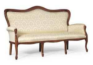 Filippo 3 arches sofa, Classic style sofa with wooden structure, for living room