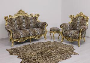 Finlandia Animalier 2-seater, New baroque sofa upholstered in velvet
