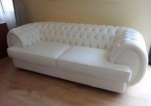 Gioconda sofa, Tufted sofa in white leather