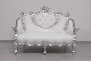 Gonzaga, Two-seater sofa in white leather