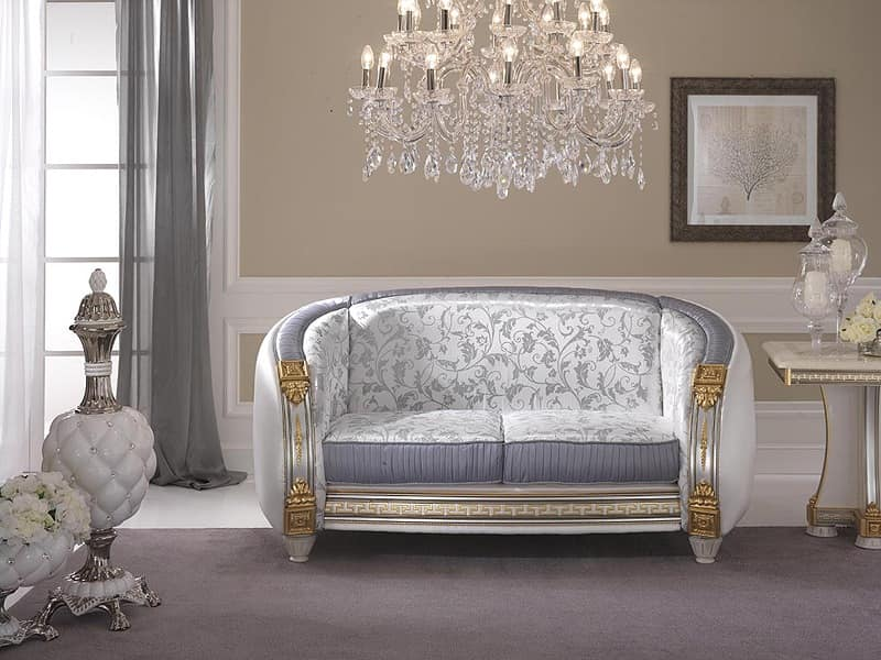 Liberty sofa, High quality classic sofa, customizable upholstery in precious fabrics, for sitting room and waiting areas