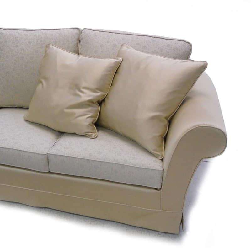 Lord with traditional back, Modern sofa with wooden structure, beech feet