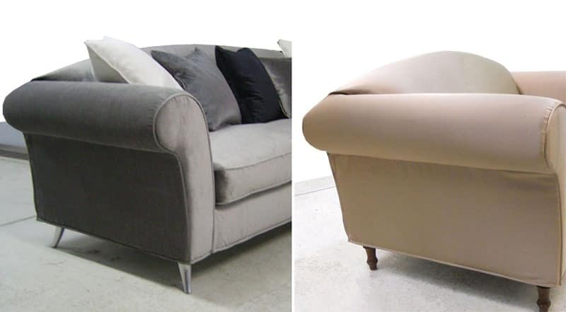 Lord with unique back, Sofa Upholstered in polyurethane, walnut feet