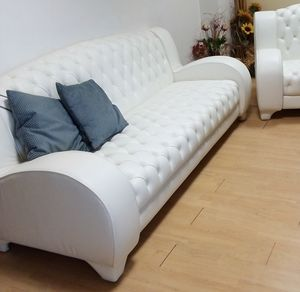 Lory sofa, White leather sofa