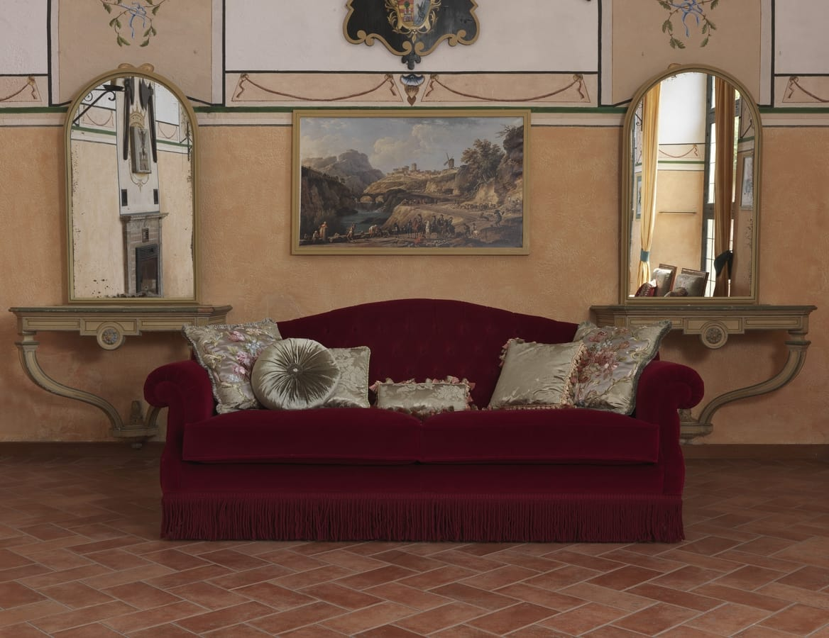 Monica sofa, Sofa in classic style, with customizable colors