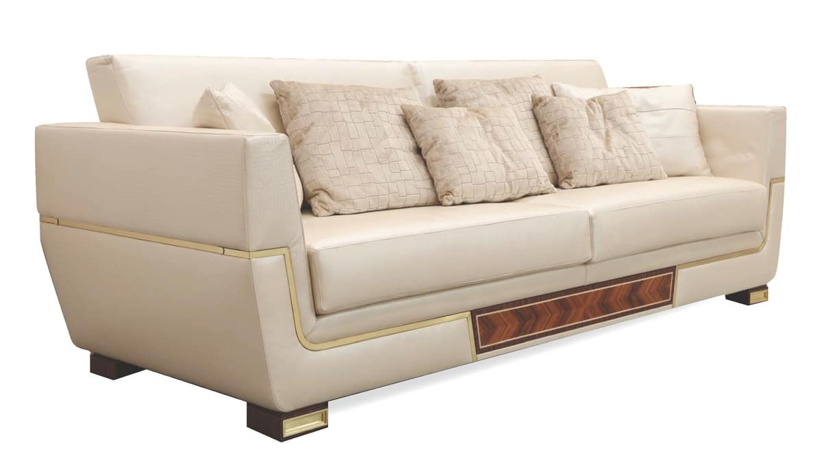 MONTE CARLO / sofa - LUX, Leather sofa with glamorous lines