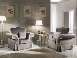 MORFEUS armchair, Classic armchair upholstered in fabric
