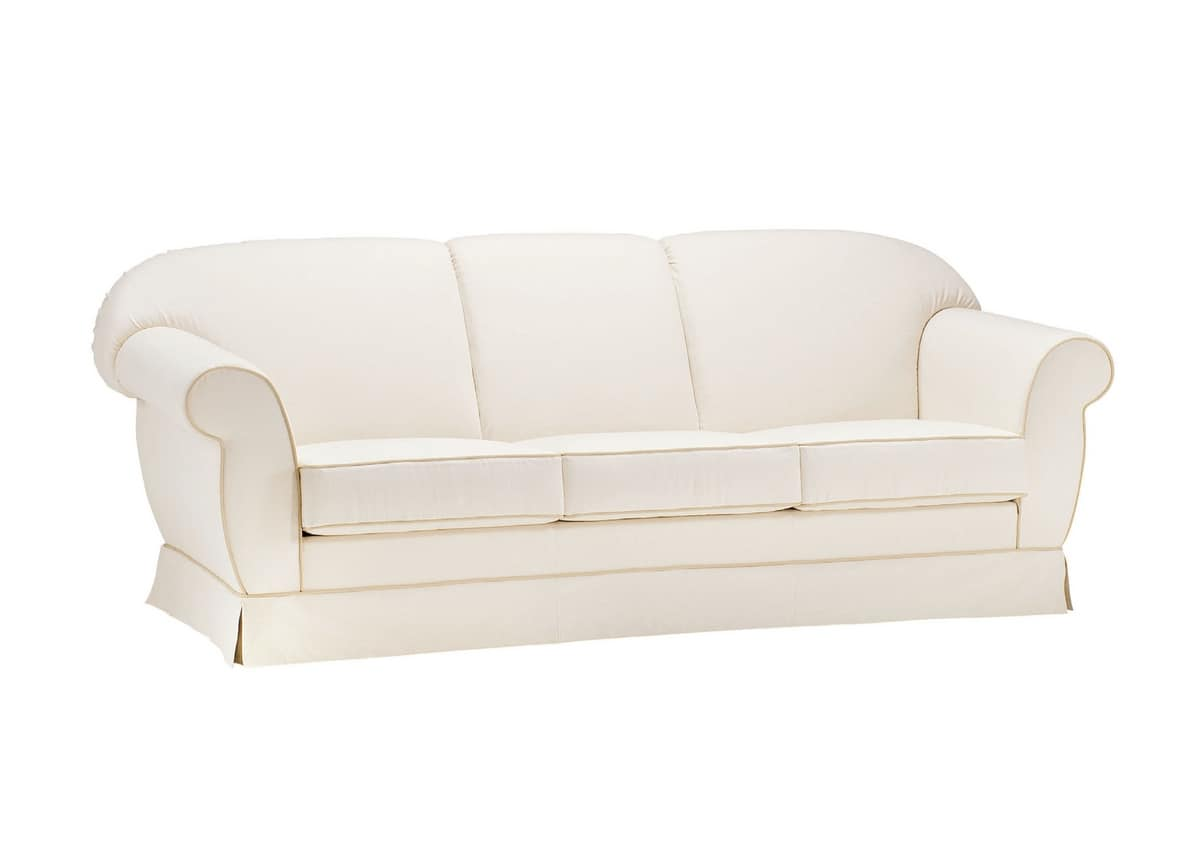 Paride, Comfortable sofa with skirt, classically styled