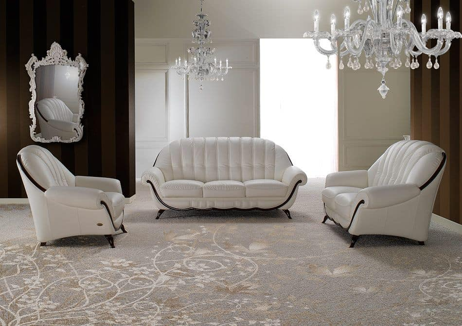 Pompei, Two Seater Sofa, Neoclassical Style, Rounded Shape