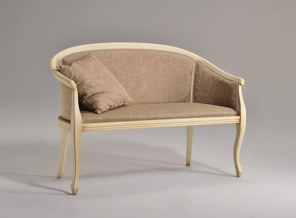 POZZETTO sofa 8032L, Elegant sofa in beech, turned legs, for office