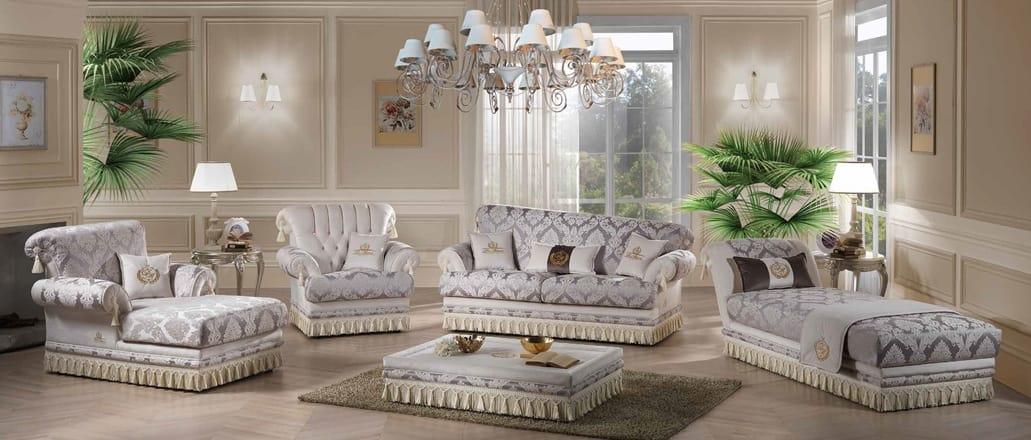 PRINCIPE, Sofa upholstered in fine fabrics