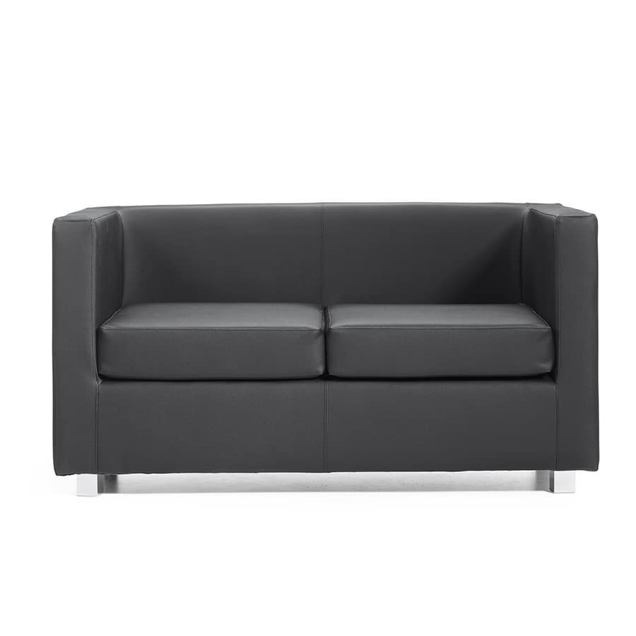 Quadra 2 3 PL, Wooden sofa covered in leather, various colors, for offices