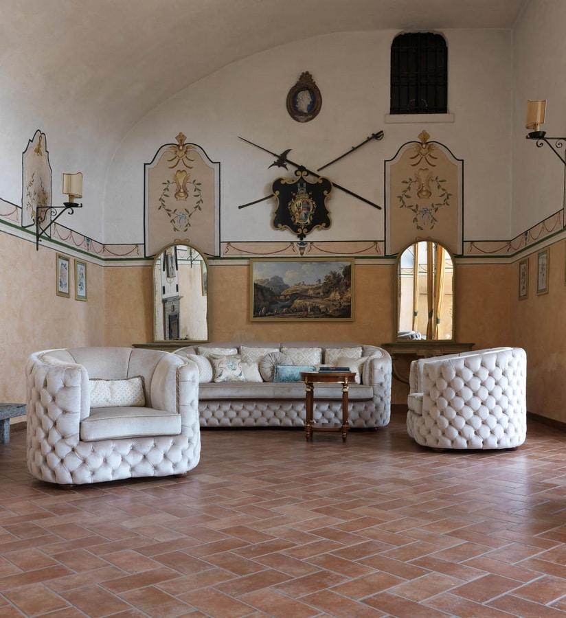 Rachele sofa, Tufted sofa with harmonious lines