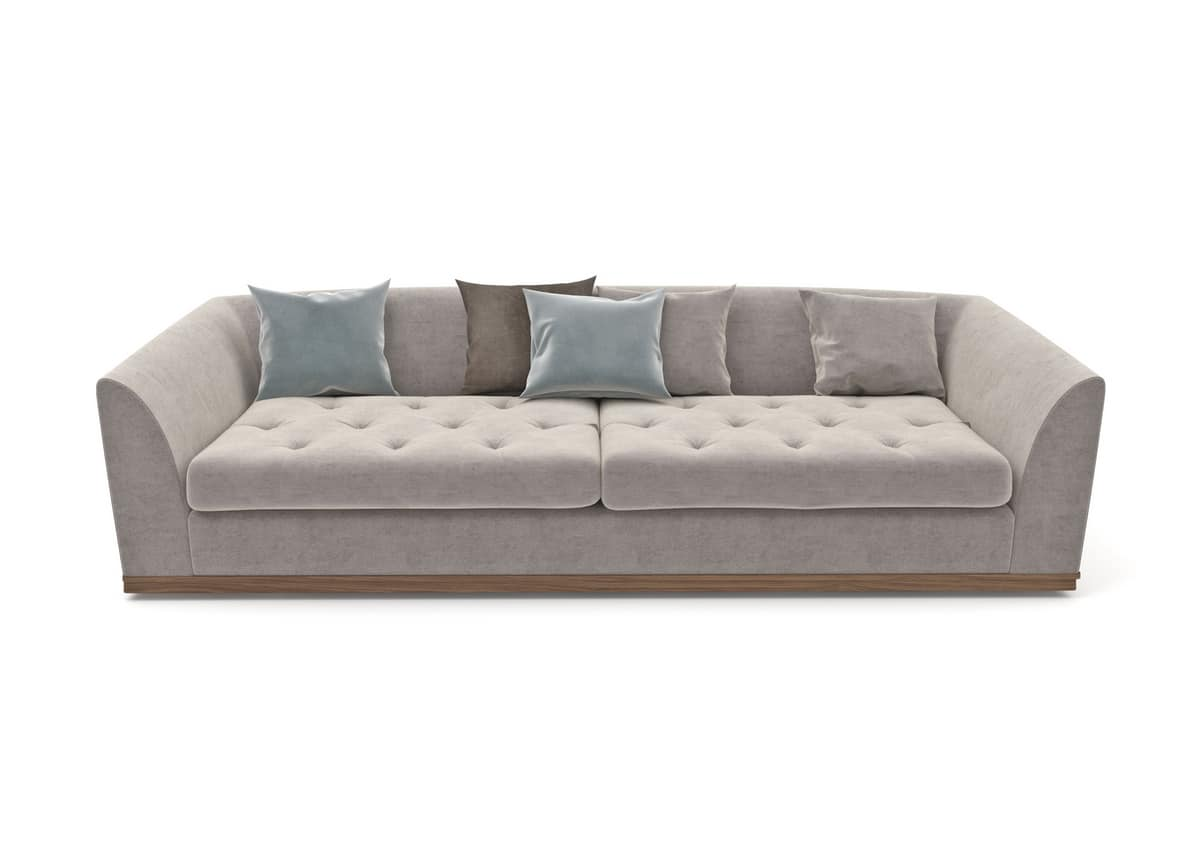 Renaissance sofa, Upholstered sofa capitonnè with wooden base