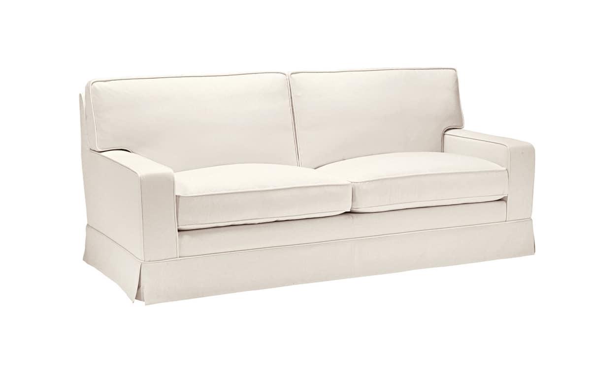 Serena, Comfortable sofa with fabric skirting