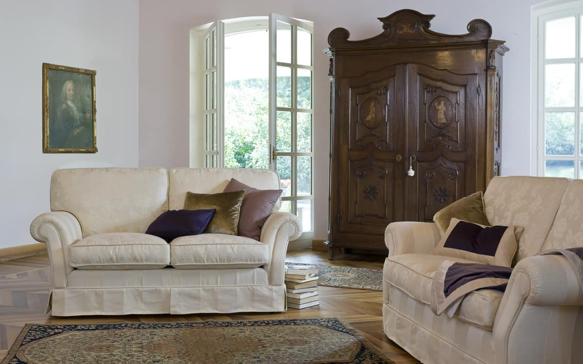 Silvio, Contemporary classic sofa, with fabric upholstery