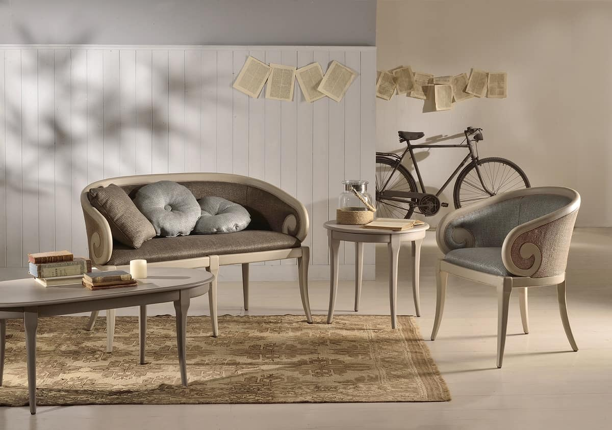 TOFEE sofà (with cane) 8216L, Two-seater sofa, upholstered in fabric