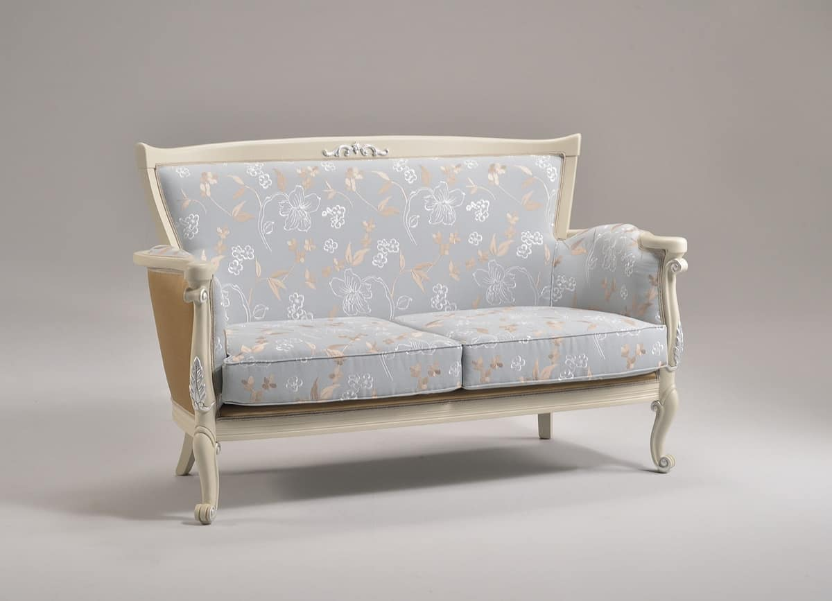 VENEZIA sofà 8294L, Sofa with finishings in silver leaf, classic style